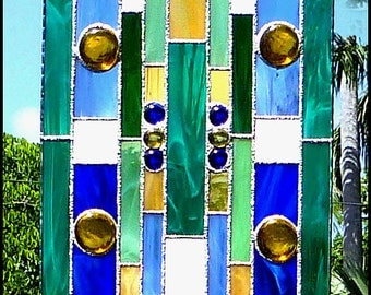 """Stained Glass Suncatcher - Geometric Abstract Design, Stained Glass Sun Catcher - Decorative Home Decor - Gift Idea -  9 1/2"""" x16"""" - 9505-TL"""