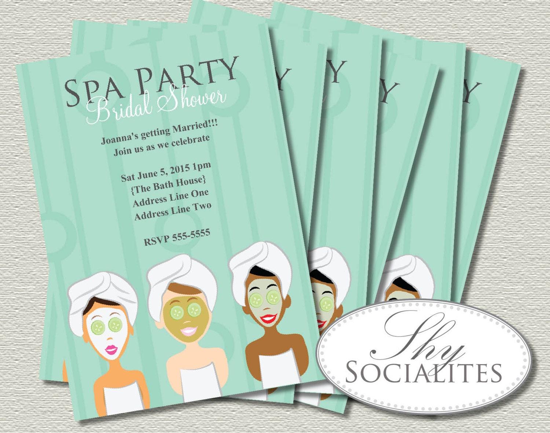 spa party invitation pedicure pamper manicure spa day