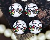 10pcs 12mm Handmade Photo Round Glass Cabochon -Image Glass Cabochon-(  Bicycle  )-(HPGC-1985 )