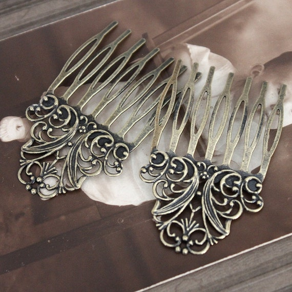 20Pcs Wholesale Antique bronze plated Brass Filigree hair comb Setting NICKEL FREE(COMBSS-4)