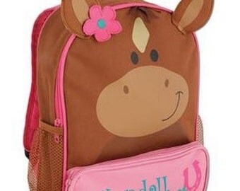 Personalized Stephen Joseph Sidekicks Backpack-Horse