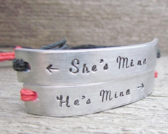 His and Hers Friendship Bracelets Set of 2 Couples She's Mine He's Mine ARROW Best Friends Custom Hand Stamped Name Tie On Hemp Cord