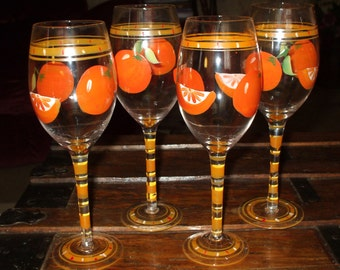 Tall Glass Goblets Stemware Oranges & Orange Slices Tropical Hand Painted Set of 4