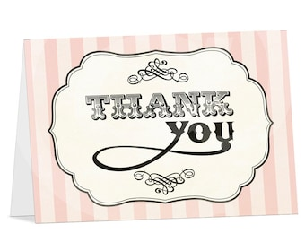 Dainty French Parisian Thank you card - Print your own