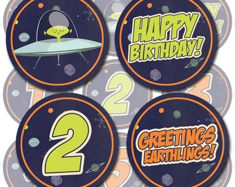 Space Alien - Outer Space Themed Party Circles - Cupcake Topper Template - Print your own