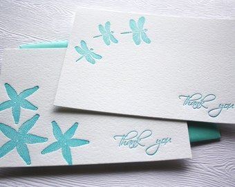 Thank You Letterpress Cards Starfish or Dragonfly Aqua Blue Card Set
