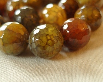 12mm Micro Faceted Green Brown Amber Gray Multi-tone Dragon Vein Round Beads,, full strand, 15.5""
