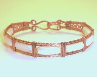 Copper and Mother of Pearl Bangle Bracelet Free Shipping