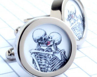 Kissing Skeleton Cufflinks for Weddings, Anniversaries, Birthdays and Halloween Romance PC185