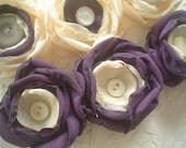 Fabric flowers --- 6 peach plum mix --- upcycled