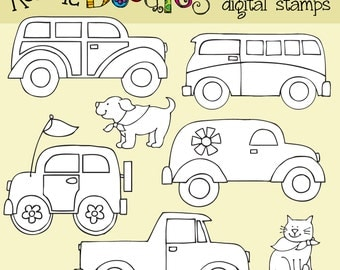 Ronnies Funky Cars Digital Stamps