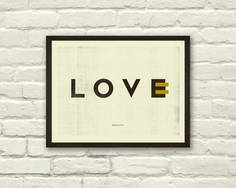 Love, Equality, 11 x 8.5 Art Print, Poster, EQUALITY, Typography, Graphic Design, Black and Gold