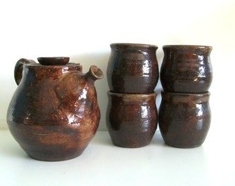 Vintage Hand-Thrown Studio Pottery Teapot Set