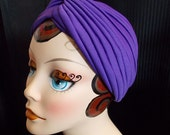 Purple, Vintage Style Turban, Retro Sun Bathing Cap