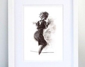 Print, Art Print, Wall Decor, Wall Art, Illustration Print, Black Dress Charcoal Drawing - print 8x11.5 inch (21x29.5 cm)