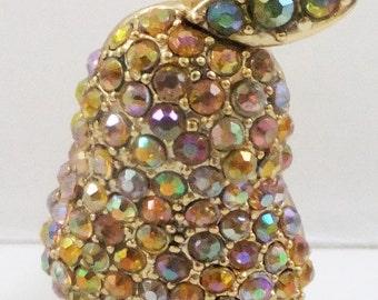 Vintage jewelry brooch pear in rainbow Aurora Borealis rhinestones by Star jewelry wedding brooch Sale half price
