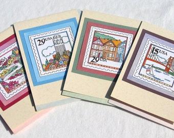 SAN FRANCISCO postage stamp note card set of 4