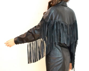 Vintage Black Leather Dress With Fringe Size Small By Michael Hoban North Beach
