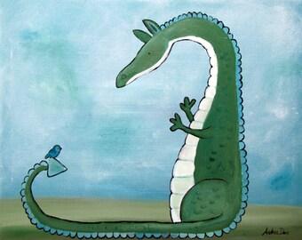 Dragon Art Print, Kids Art Print, Fairytale Kids Wall Art Nursery Decor, Storybook Children's Art