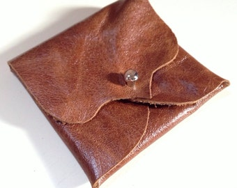 Tan Brown Leather Earphone or Earbud Pouch or Just a Cute Pouch. Antique Brass Coloured Rivet Closure. Eco Friendly. Slightly Shiny.