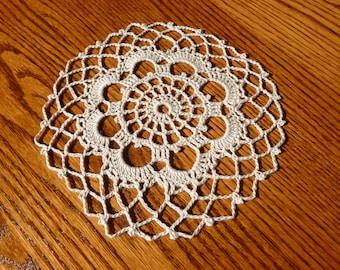 Ecru Cotton Doily - seven and one half inches in diameter