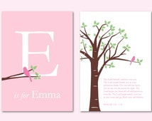 """Baptism Gift Personalized Custom Scripture and Initial/Monogram Print-  Girl Nursery Decor - Set of two 5""""x7"""" prints"""