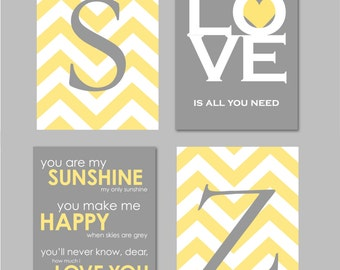 Yellow and Gray Bathroom Art Home Decor Prints You Are My Sunshine Chandelier Chevron Monogram Prints - Set of four 8x10s You Choose Colors