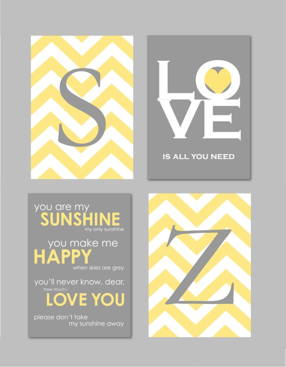 Yellow And Gray Bathroom Art Home Decor Prints You Are My Sunshine  Chandelier Chevron Monogram Prints