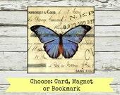 "Mixed Media Art: Card, Magnet or Bookmark, art card, art magnet, art bookmark, Vintage inspired mixed media, ""Butterfly 109"" postcard art"