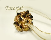 Beading Tutorial - Beaded Gold Reel Pendant Bead Beading Pattern Round Bead Making Instructions Flower Ball Bead DIY Beading