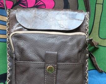 Cross body small leather bag - Small  brown bag - messenger bag