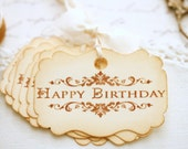 Happy Birthday Gift Tags Birthday Party Decor Favor Tags Vintage Style Tags