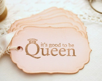 Queen Pink Gift Tags Party Favors Treat Bag Tags Vintage Style Party Decor