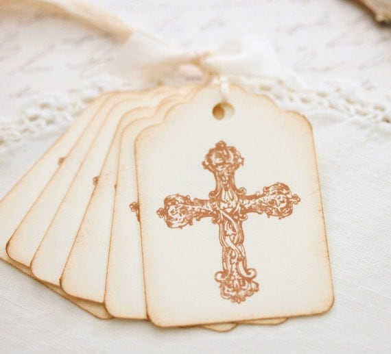 Cross Gift Tags Sunday School Treats Vintage Cross Handmade Gift Tags Baptism Christening Confirmation