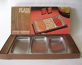 Stainless steel solid slat walnut mid century vintage serving drop in snack tray original box Foley