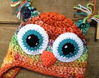 Owl Crochet Hat, Owl Beanie, Crochet Hat Ear Flaps
