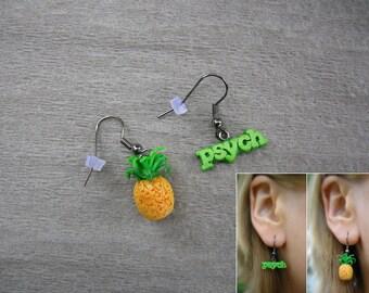 Psych TV Series Inspired Pineapple Earrings, dangling