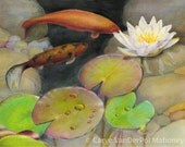 """Pond with orange koi fish and green lily pads with white flowers, quiet and peaceful nature scene - Art Reproduction (Print) - """"Koi"""""""