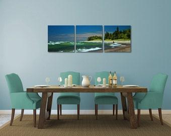 "Lake Superior shore, 3 - 20"" x 20"" canvas panels creating a large 20"" x 60"" wall grouping"