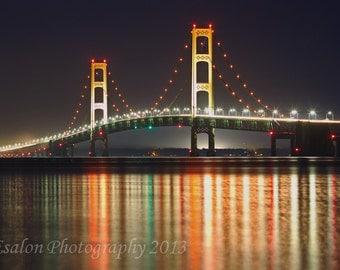 Michigan's Mackinac Mackinaw Bridge color print