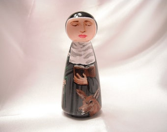 Saint Catherine of Sweden - Catholic Saint Wooden Peg Doll Toy - made to order