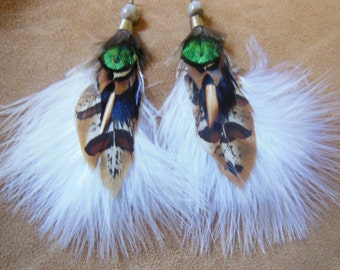 Tribal Feather Earrings ~ medium size pair with white feathers