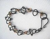 Steel, Copper, Brass Link Unisex Bracelet - Metalwork, Handmade