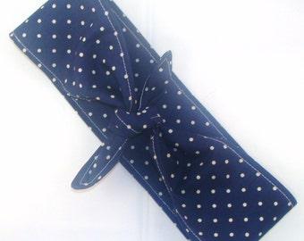 Headscarf, Dark Blue with Tiny White Polka Dots 50s 40s Rockabilly Pin Up Headscarf Headband Retro Boho