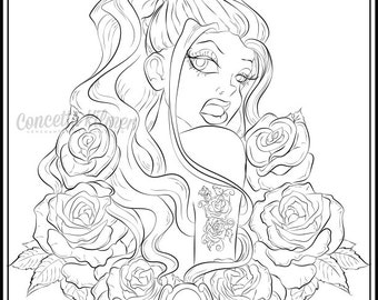 Adult Coloring Page - Rose Coloring Page - Pin Up Art - Rose Tattoo Style Art Coloring Page - Fantasy Art PDF Digital Download Coloring Page