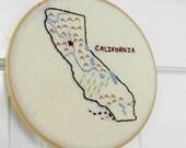 California Embroidery Hoop Wall Art. 7 inch hoop. Home Love Art.  Map art. State Outline. Geography. Travel. Home. Teacher.  Dorm Art.