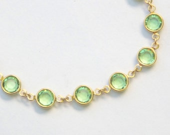 Gold Birthstone Bracelet, August Peridot Jewelry, Light Green Swarovski Crystal Birthstone Bracelet