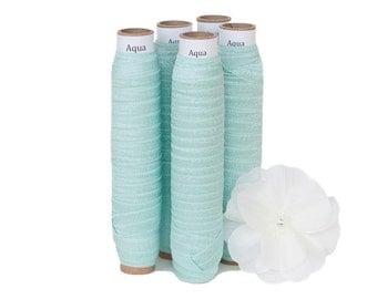 "Aqua - Fold Over Elastic - Solid FOE - 5/8"" Wide - 5 Yards Wholesale"