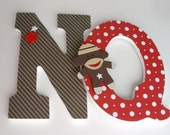 Large Red Sock Monkey Wooden Letters, Alphabet Wooden Letters, Decoupage Wooden Letters, Unisex Gender Neutral
