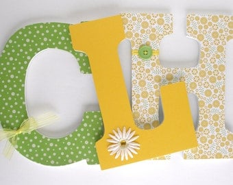 Wood Nursery Letters - Yellow and Green - Custom Letter Set